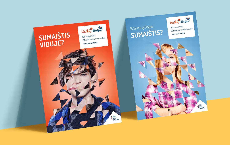 Vaikų linija įvaizdiniai plakatai