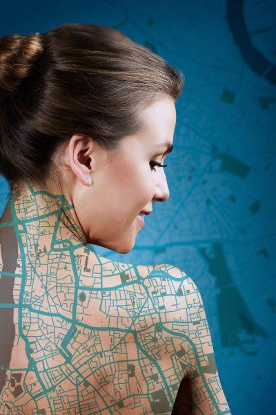 Northway žemėlapis ant žmogaus kūno