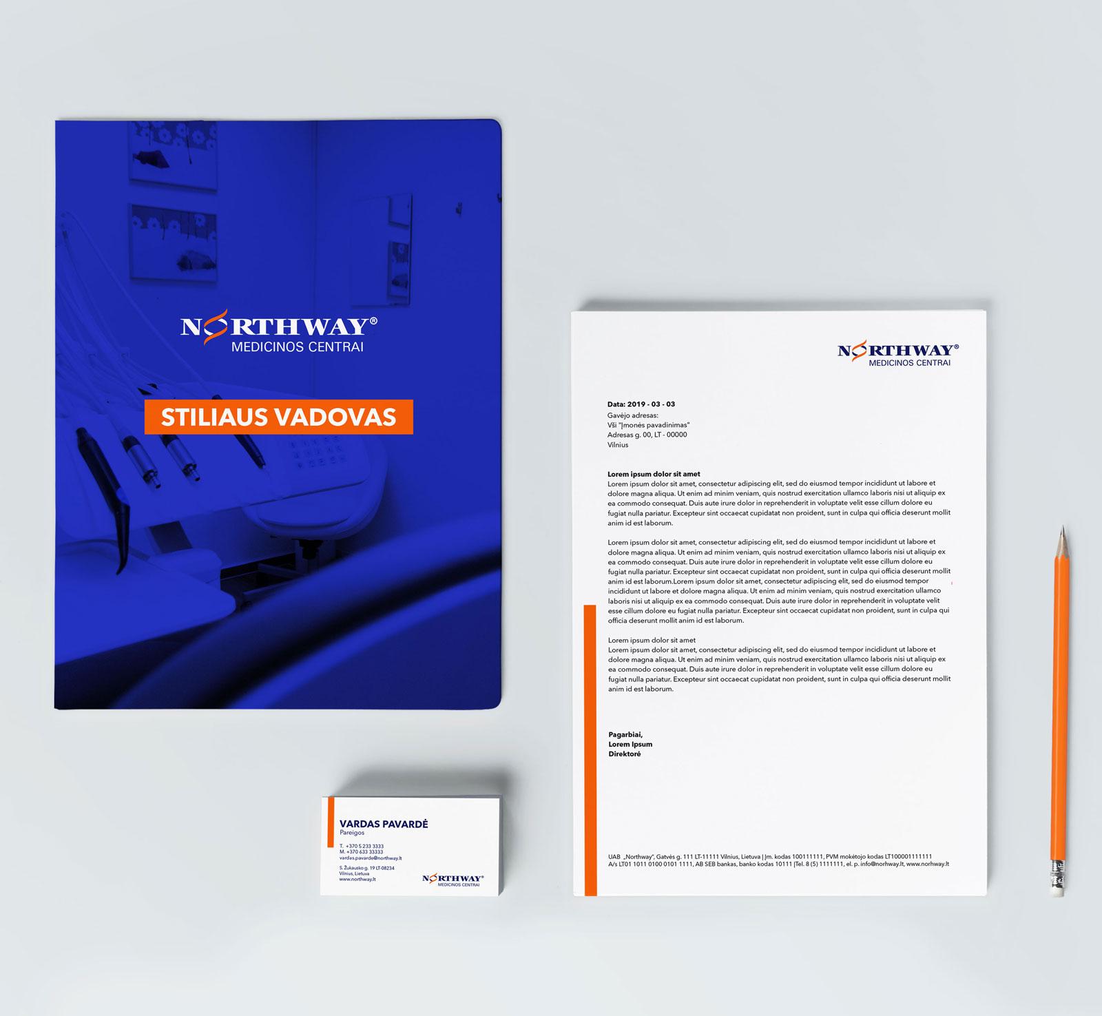 Northway brandbook stiliaus vadovas su vizitinėmis, blanku ir firminiu dokumentu