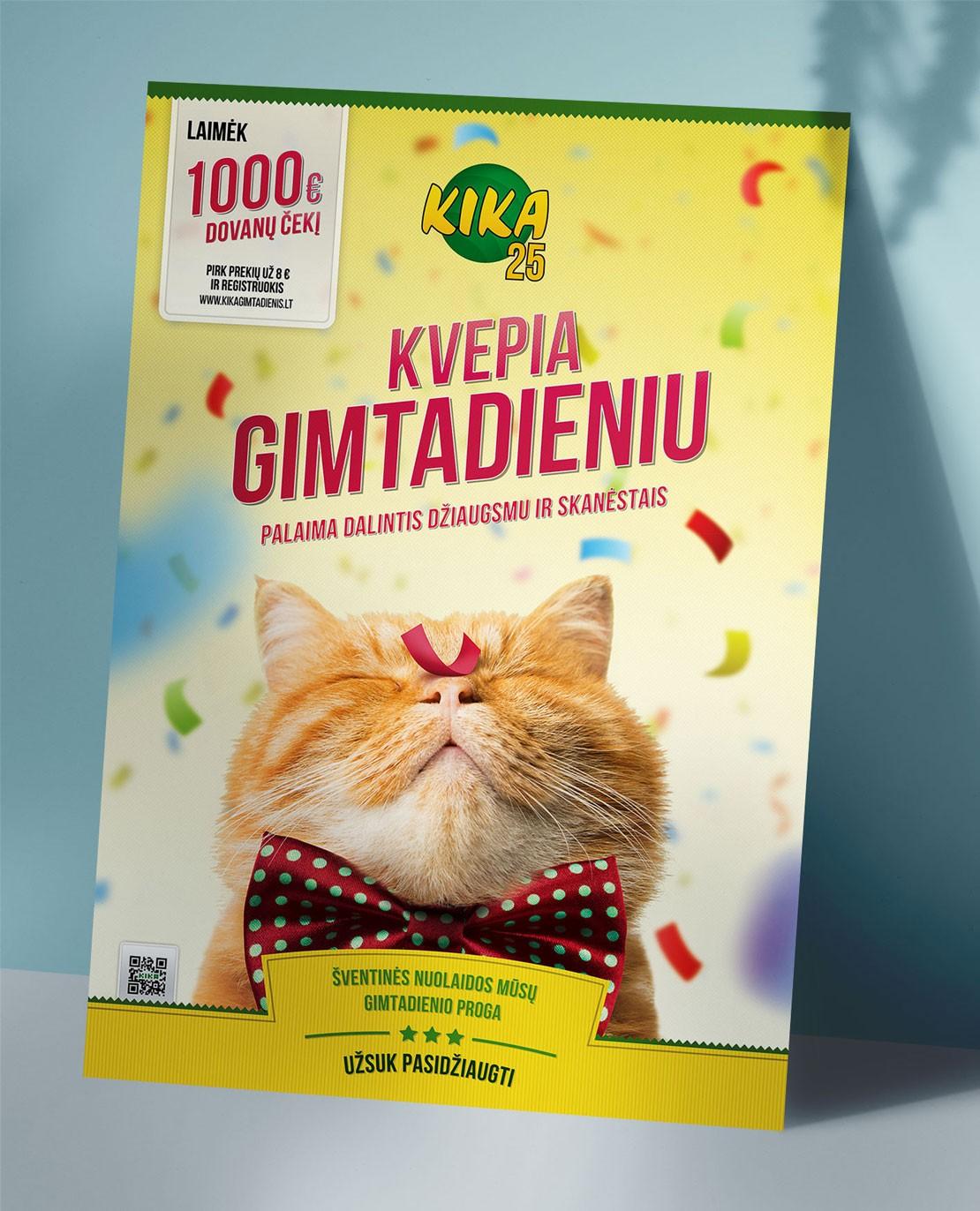 KIKA gimtadienio plakatas su kate