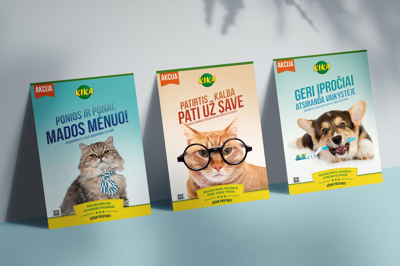 Gyvūnų parduotuvės KIKA įvaizdiniai plakatai
