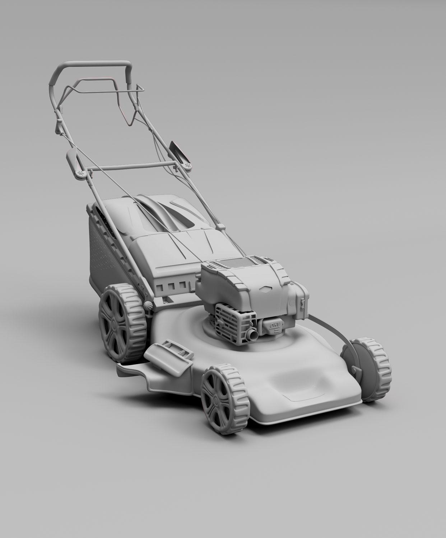 Haushalt benzininė žoliapjovės baltas 3D modelis